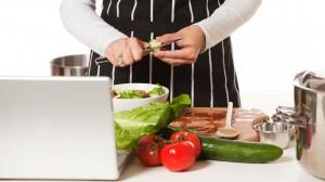 cook using laptop